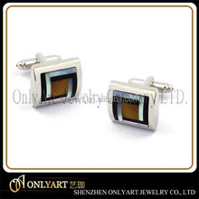 Luxury rhodium plated square mosaic stones cufflinks