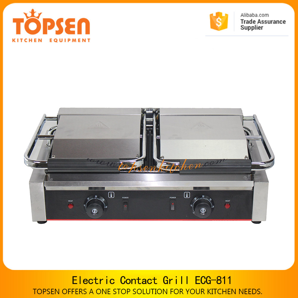 Restaurant non-stick industrial sandwich grill, ECG-813 double flat plate electric contact grill toaster for sale