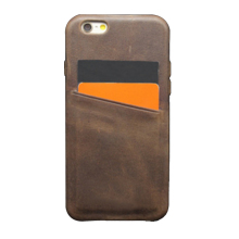 Factory make real leather phone case, full edging protect back cover with business card holder for iPhone6
