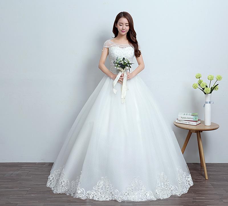 Q007 New Bridal Gown 2018 Sweet Korean Wedding Dress Patterns Beaded