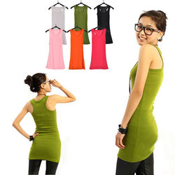 Slim plain women's sleeveless t shirt