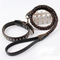 Dog Premium Genuie Dog Leash And Collar Cowhide Weaved Round Large Leather Dog Leash