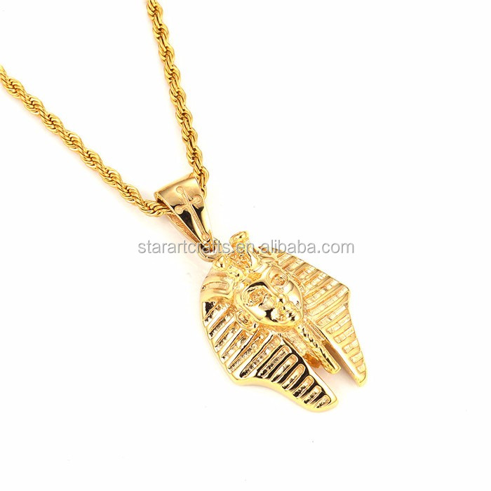 Hot Sale Stainless Steel 18K Gold Plated Pharaoh Big Pendant cuban Pendant P635