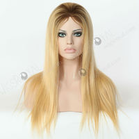 Natural Hairline Dark Roots Human Hair Blonde Wigs,Virgin European Hair Glueless Silk Top Full Lace Wig