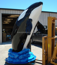 Large sea animal fiberglass jumping whale statue for garden decoration
