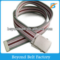 Beyond Stripe Military Web Cotton Canvas Belt with Metal Slip Buckle