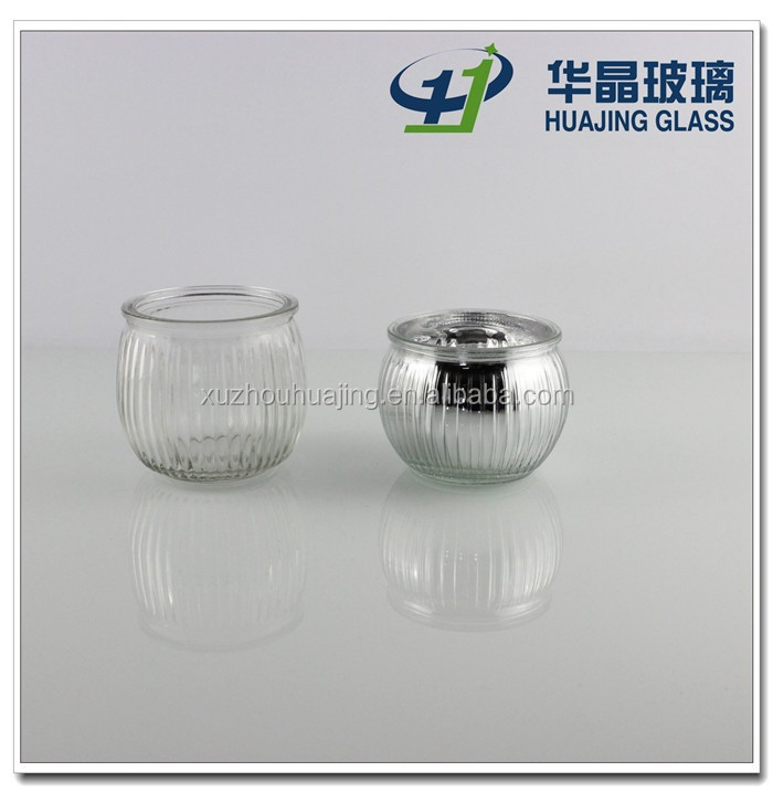 High quality 180ml clear empty glass candle jar with engraved stripe xuzhou huajing manufactory
