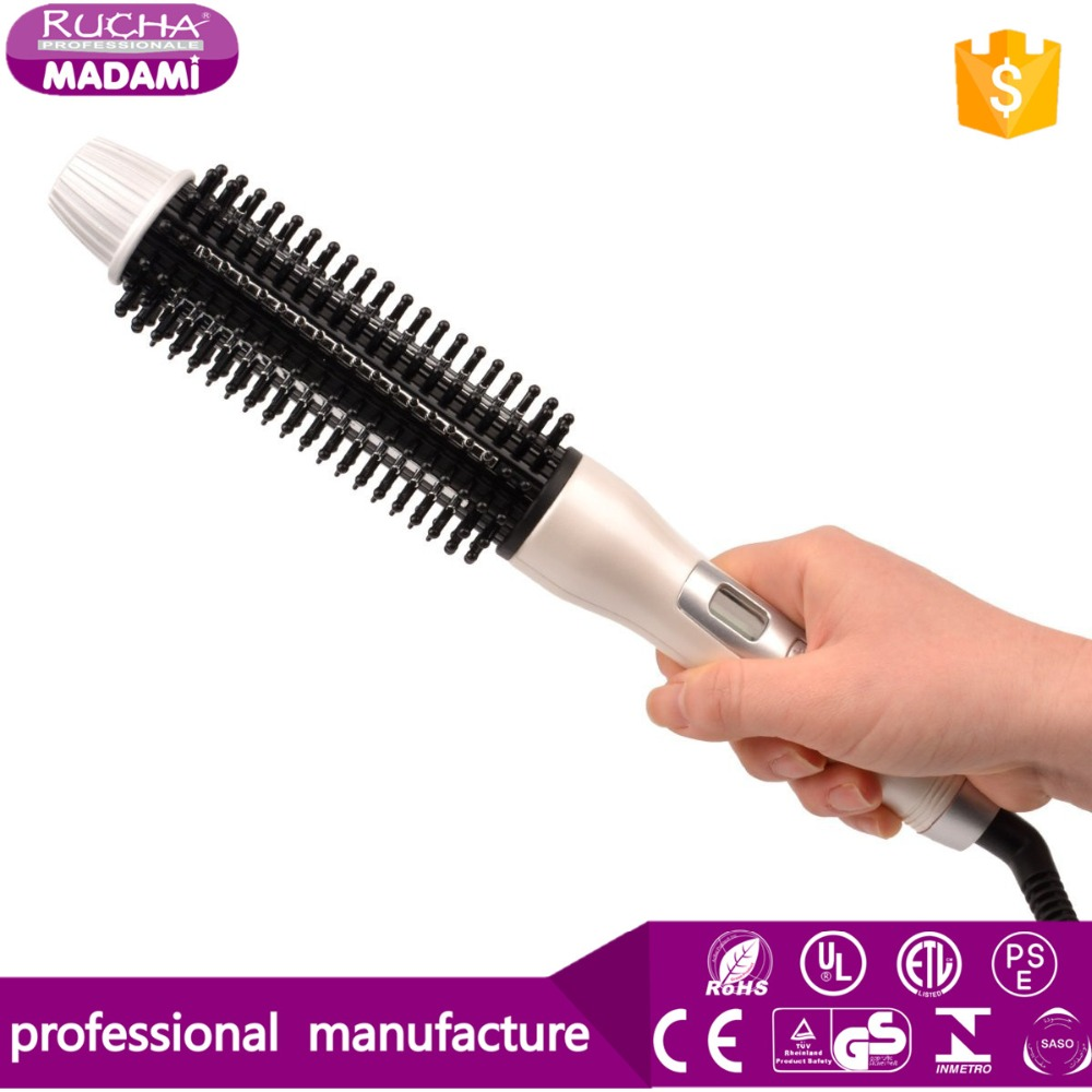 2 in 1 fast heated ceramic coated hair rolling comb straightening brush