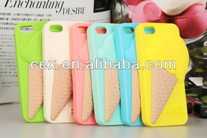 For IPhone 4 4s/5 5s New Arrival 3D Melt Cute Ice Cream Cone Silicon Soft Cover Case
