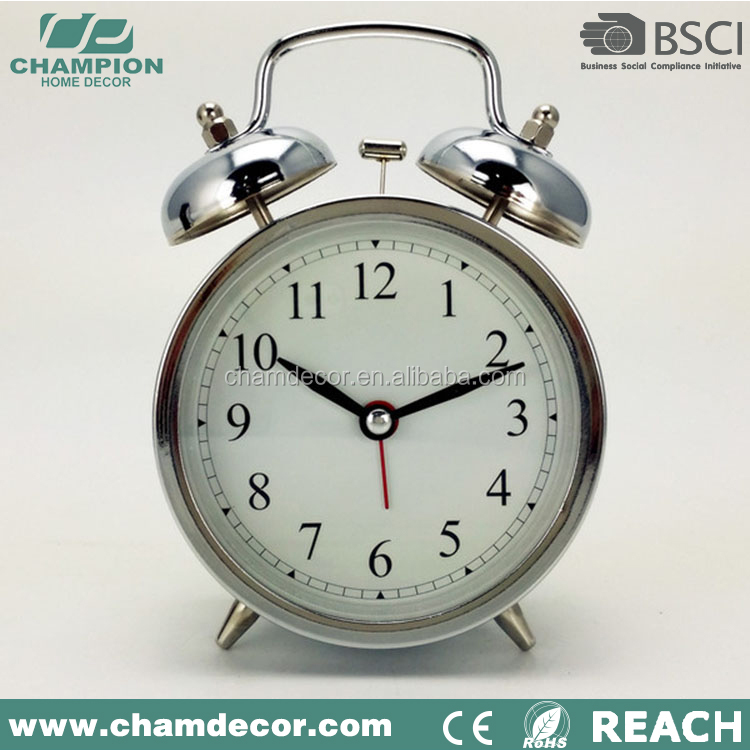 Stainless steel desk and table fashion alarm clock , alibaba alram clock