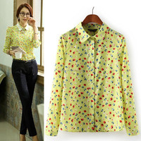 Women's Yellow Floral Long Sleeve Button Down Shirt Top 2013 new patch work blouse designs