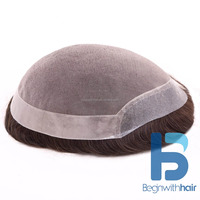 Fine Mono With Pu Stock Human Hair Toupee/Wig/hairpiece for Men