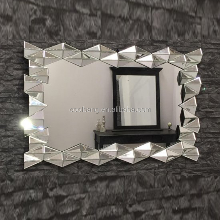 Elegant 3d with triangle edge beveled wall mirror for sale