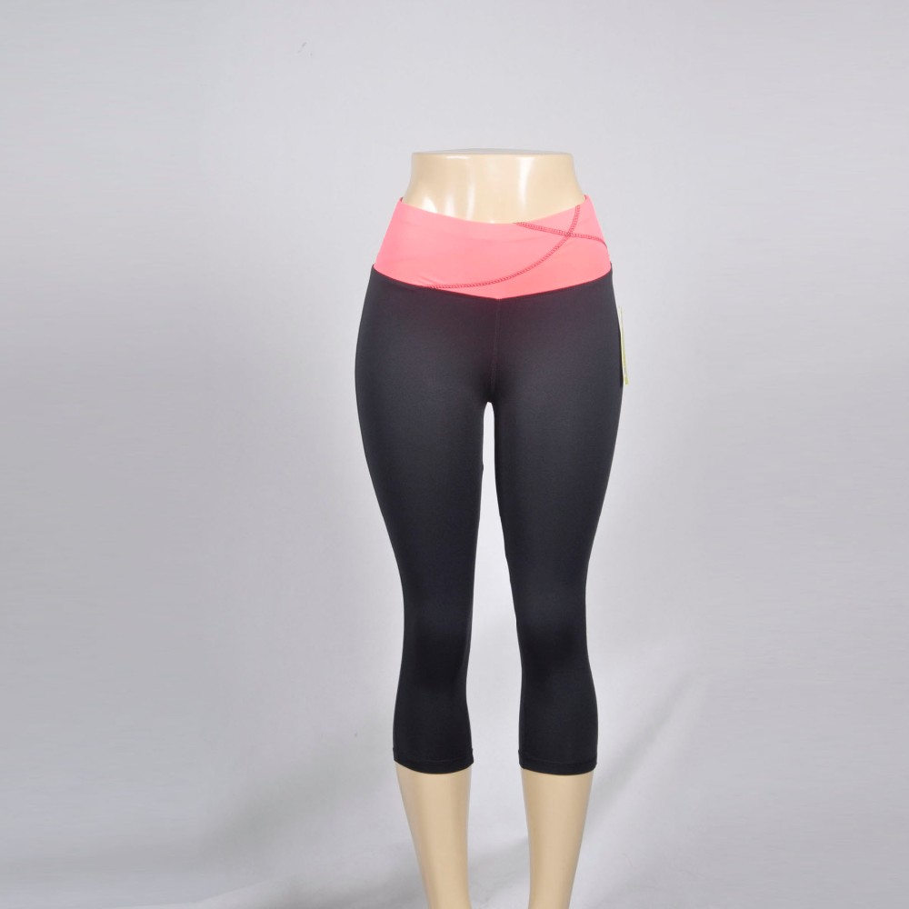 Hot Sexy polyester spandex girl tight capri gym sports yoga pants fitness active wear leggings