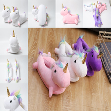 YWMT 2017 New Design For Children Led Light Winter Warm Fur Comfy Plush Animal Kids Unicorn Slippers