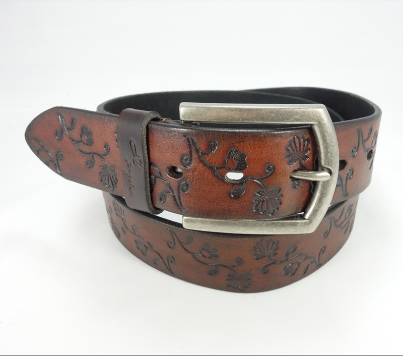 Fashion High Quality Genuine men casual jeans custom printed leather belt