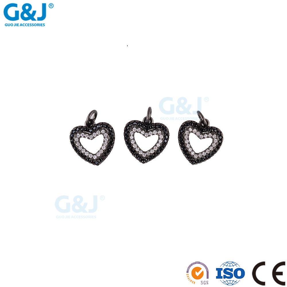 guojie brand Micro Pave Setting Jewellery Heart Shape hollow out White CZ Charms Pendant