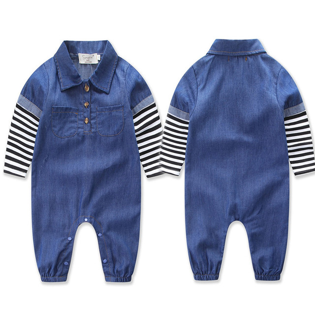 Clothes For New Born Cotton Denim Fabric Long Sleeve Striped Bodysuit 2017 Romper Infant Boys And Girls Clothing