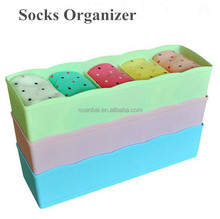 5 Grids Colored Fancy Plastic Dividers Socks Storage Bin Box Organizer