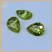Beauty olive yellow pear cut cubic zirconia with wholesale price