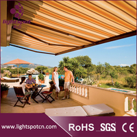 Electric retractable free standing balcony awning