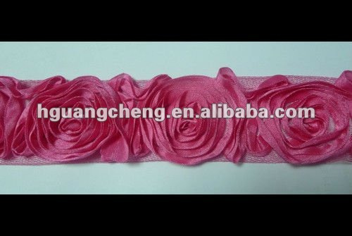 fashion chic satin fabric ruffled stretch decoration ribbon rose flower lace trim for dress wholesale