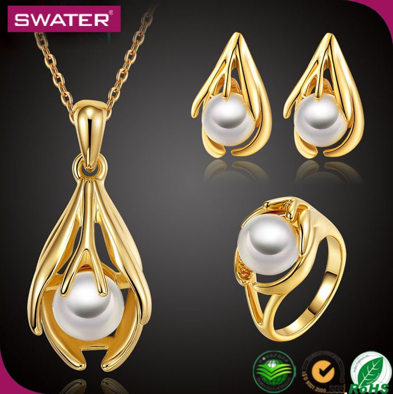 Costume Fashion Jewelry Italian Women Wedding Dubai Pearl African 18K Gold Plated Jewelry Sets Designs