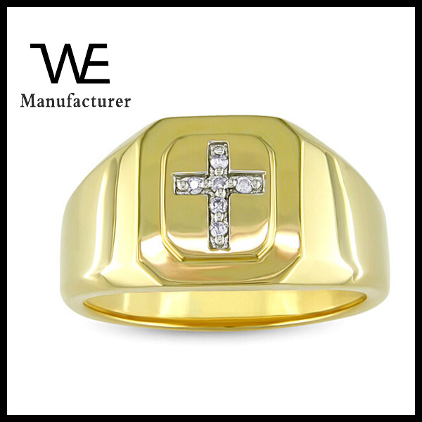 Yellow Plated Silver Diamond Accent Ladder Step Men's Cross Rings