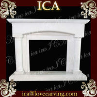 Indoor used fireplace mantel white marble hand carved fireplace popular home stone fireplace