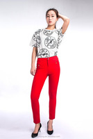 Huade high quality red color women causal cropped pants