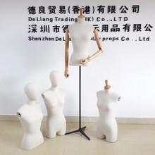Fashion half body Adjustable dressmaker dummy for sale manikin with wood arms, head cover and wooden base high qulity on sale