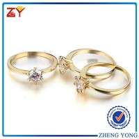Gold Plated Brass Ring White CZ Diamond Ring