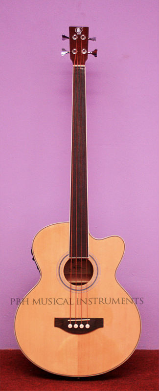 BLW Fretless Semi Acoustic Bass Guitar