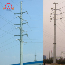 132kv galvanized electric power transmission line steel pole tower