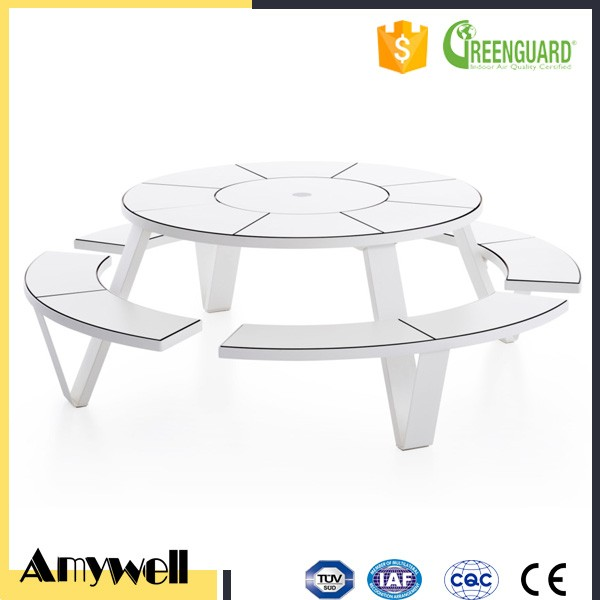 Amywell New Design White 15mm waterproof compact hpl 80inch round table