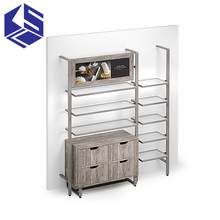 Hot sale wall clothing cabinet wooden garment shop furniture design clothing display