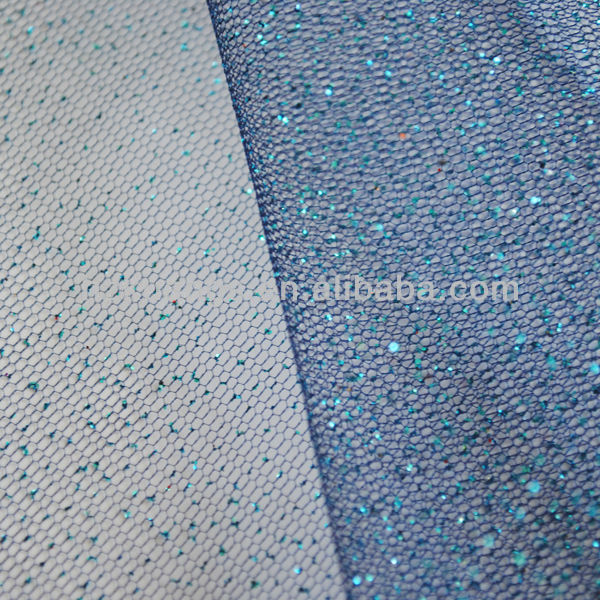 Blue glitter flower tulle shiny mesh fabric for christmas
