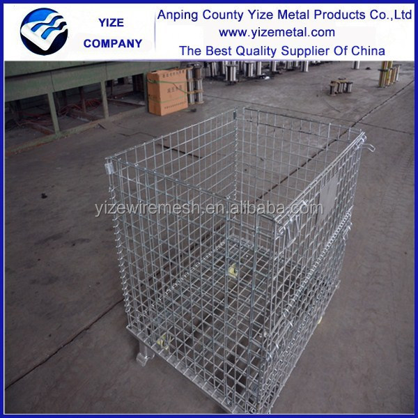 Best-selling steel metal wire mesh container metal storage cage with wheels used