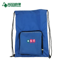New fashion nylon draw string pouch drawstring backpack with zipper