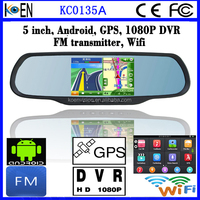 CE RoHS 5 Inch Touch Screen Rearview Mirror Android GPS Navigation With Bluetooth 1080P DVR Camera Wifi FM Transmitter