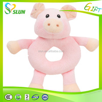 Red and yellow green colorful plush animal girl doll cute pig toy for sale