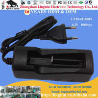 Europe plug automatic 4.2V 1000mA universal li-ion battery power charger for 18650 16340