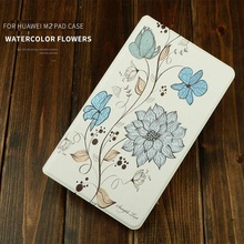 Lightweight Magnetic smart 10 inch tablet enclosure Flip leather stand pu leather protective case for huawei M2 10.1inch