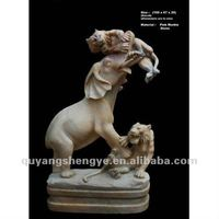 Marble tiger elephant sculpture