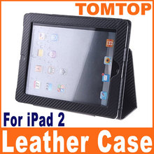 new Stylish Protective PU Case Black Textured Weave Leather Case Stand Simple Generous for iPad 2 Durable
