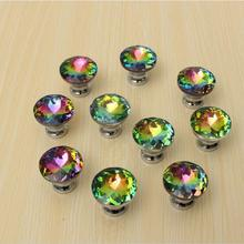 Alibaba china supplier colorful diamond shaped crystal stainless steel door handle on cupboard