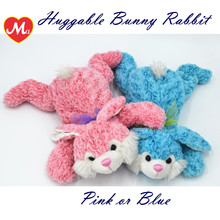 Pink/Blue super soft baby hugging toy ,Rose Plush Laying Bowknot Bunny Rabbit toy