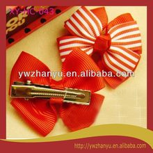 fashion decorative red stripe bow hair clip for kids