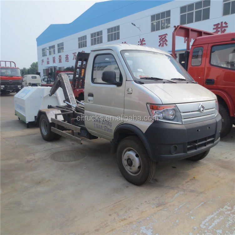 chinese manufacturer cheap price 4 wheeler 3 cbm changan hook lift garbage truck