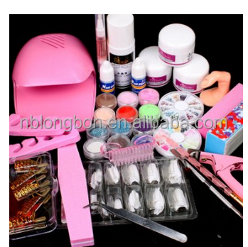 Nail Art Hand Dryer Blower & UV Gel Acrylic Tips Powder Liquid Tools Kit Set